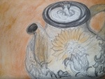 Flower tea Pot in PAstel and Water Colour